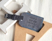 Limited Personalized Double Sided Luggage Leather Tag, Grey Color, wedding favor - Hand Stitched by Harlex