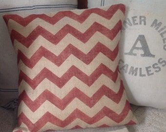 Burlap Rustic Chevron Pillow/Modern Jute Pillow Cover in Rustic Red/Home Decor by sweetjanesplan