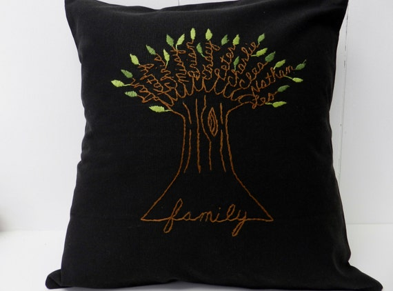 Family Tree Personalized Pillow Cover.  Black Fabric. Mother's Day Gift for wife. Anniversary.  Wedding Gift. From Kids. Love.