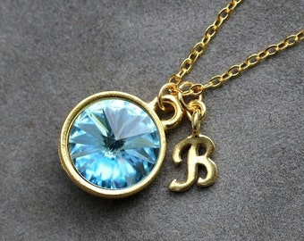 Gold Initial Birthstone Jewelry, March Aquamarine Necklace, New Mother, Letter, Aquamarine Jewelry, Initial Necklace