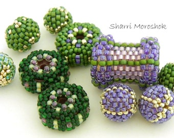 Purple and Green Beaded Beads set of 10 - by Sharri Moroshok - purple green silver
