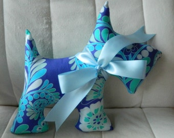 BIG Scotty Dog - Periwinkle, Teal, and Light Blue Floral