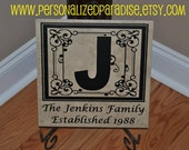 Ceramic Tile Plaque, Family Name Tile, Established Date, Wedding Gift, Anniversary Gift, Housewarming Gift, Personalized Tile, Custom Tile