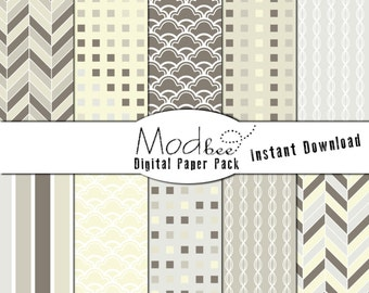 """Digital Paper 10 PACK - Geometric Light Yellow, Beige, and Grey (300 dpi) -- 10 designs - 12"""" by 12"""" Instant Download (049)"""