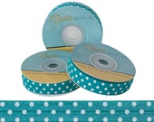 Teal and White Polka Dots - Fold Over Elastic - 5 YARDS