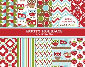 Hooty Holidays Christmas Digital Papers