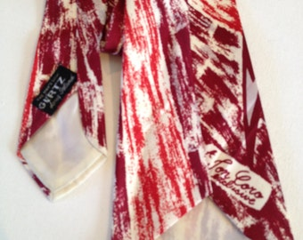 Vintage Mens Wide Silk Necktie Red Abstract Design Made by Jon Coro Exclusive for The Man's Shop Gertz in Long Island NY