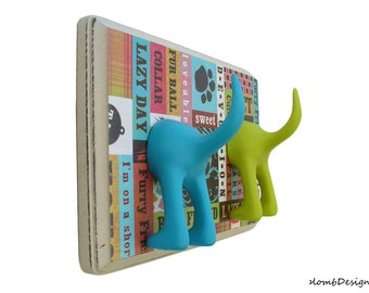 Leash Holder - Double Tail -  Animal Lover -  Personalize with Optional Letter Tiles