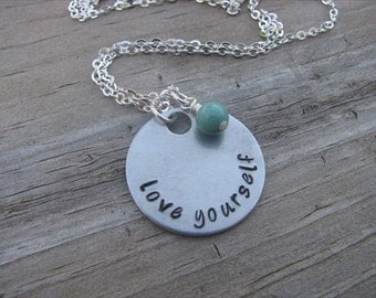 "Inspiration Necklace- ""love yourself"" with an accent bead of your choice"