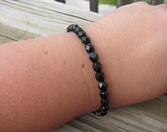 Layering Bracelet- Black Beaded Bracelet