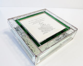 Stained Glass Keepsake Memory Box 8x8x2 Wedding Invitation Bride Groom Photograph Bat Mitzvah Birth Announcement Custom Made-to-Order