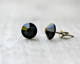 Titanium Earrings, Jet Black Swarovski Crystal, Hypoallergenic
