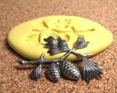 Pine Brough with Pinecones (large) - Flexible Silicone Mold - Jewelry Mold, Polymer Clay Mold, Resin Mold, Craft Mold, PMC Mold