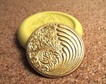 Wind and Waves Disc (large) - Flexible Silicone Mold - Jewelry Mold, Polymer Clay Mold, Resin Mold, Craft Mold, PMC Mold