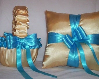 Light Gold Satin With Turuoise Blue Ribbon Trim  Flower Girl Basket And Ring Bearer Pillow