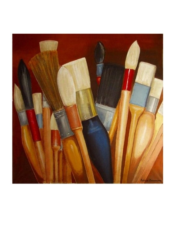 The bouquet of Brushes,Wall Art Studio,Collection Accumulation, Original illustration artist Print, Free Shipping in USA.