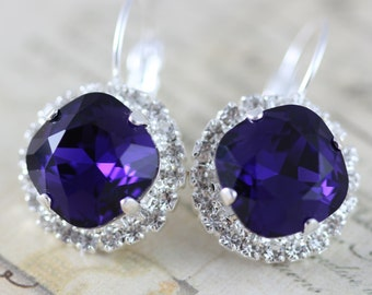 Dark Purple Earrings Made With Swarovski Crystal Earrings Bridal Earrings Bridesmaids Earrings Clip On Avail Silver Leverback Wedding