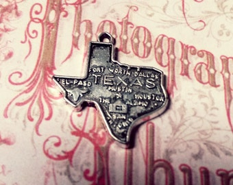 Texas Charms Pendants State of Texas Antiqued Silver Highley Detailed TX