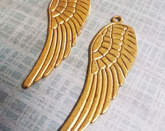 Large Angel Wing Pendants Antiqued Gold Double Sided Pendants Wings 10 pieces