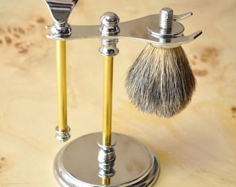Woodturners Delux Stand Kit for GilletteFusion Razor with Razor Handle,Badger Brush and Stand