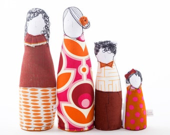 Gay family ,Proud family. 2 Women , lesbian, mothers + Son & daughter dolls in retro , geometric , floral orange burgundy timohandmade dolls