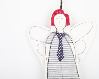Redhead angel ornament, Black & white modern Tooth Fairy or  cupid ,in striped dress and navy blue polka dot tie - handmade fabric dolll