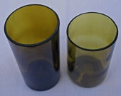 set of two recycled amber wine bottle vases