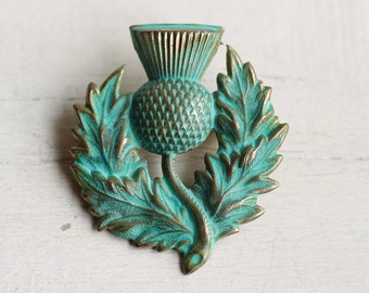 Thistle Brooch ... Vintage Green Verdigris Scottish Pin