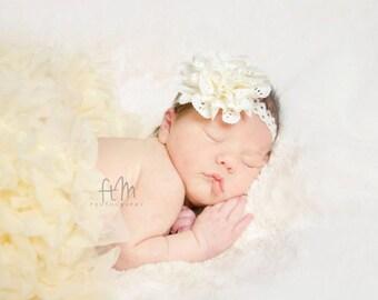 Baby headband, newborn headband, adult headband, child headband and photography prop The single sprinkled- Eyelet lace flower headband