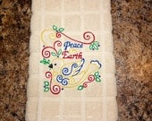 Peace on Earth Christmas Kitchen Hand Towel