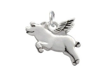 2-D Silver Plated, Flying Pig Charm, Qty.1