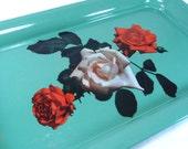 Rose Serving 3 Tray Set Vintage 50s