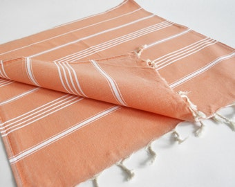 SALE 50 OFF / Turkish Beach Bath Towel / Classic Peshtemal / Pale Orange / Wedding Gift, Spa, Swim, Pool Towels and Pareo