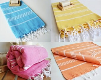 SALE 50 OFF / SET 4 / Turkish Beach Bath Towel / Classic Peshtemal / Yellow - Pink - Orange - Blue