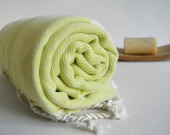 Shipping with FedEx - NEW Color Bathstyle Turkish BATH Towel Peshtemal - SOFT - Yellow - Highly Water Absorbent