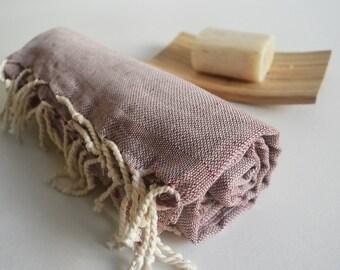 SALE 50 OFF / Turkish Beach Bath Towel / Linen - Cotton / Claret Red