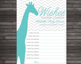 Chevron Giraffe Baby Shower Wishes for Baby Boy - Aqua Blue Baby Shower Gray Well Wishes For Baby - Boy Baby Shower Advice Card Teal Blue