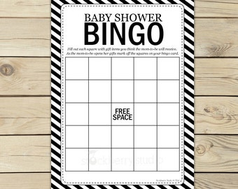 Black Baby Shower Bingo Game Printable - Instant Download - Black Bingo Cards - Baby Bingo Game - Baby Shower Activity - Party Games