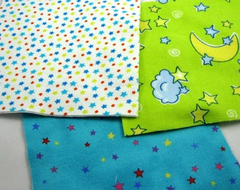 Moon and Stars Flannel Quilt Squares No.2