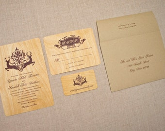 Real Wood Wedding Invitations - Deer Damask