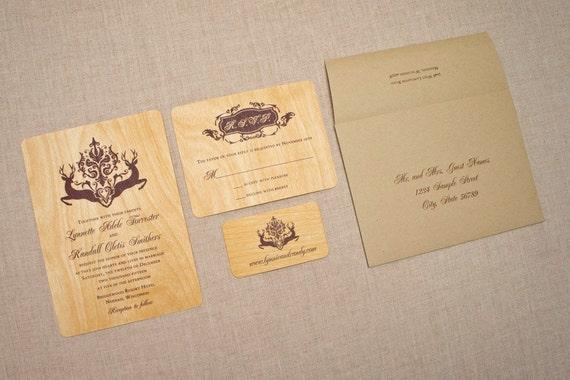 Deer Wedding Invitations: Real Wood Wedding Invitations Deer Damask