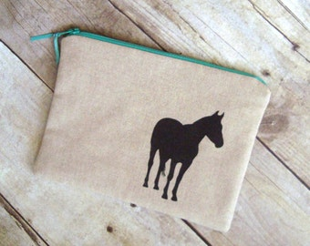horse pouch / linen with zipper / horse case / makeup bag / horse lover gift /  horse clutch / coin purse