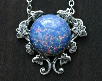 Periwinkle Blue Opal Necklace