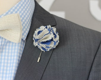 Lapel flower pin, cotton and burlap carnation boutonniere, chabby chic wedding boutonniere, rustic wedding boutonniere