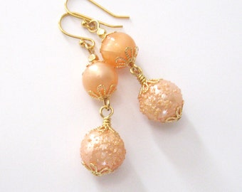 Peach Bead Earrings, Vintage Lucite MoonGlow and Sugar Beads, Upcycled Eco Friendly Dangle Earrings
