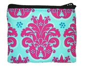 Turquoise and Pink Print Coin Bag
