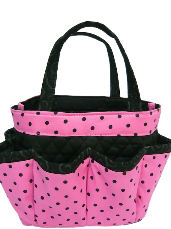 Polka dot in pink small bingo bag  /great for craft and make-up   organizer