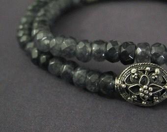 Blue Labradorite Bracelet | Spectrolite Bracelet | Labradorite Beaded Jewelry | Sterling Silver Jewelry | Layering Jewelry