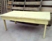 Pallet Coffee Table, Reclaimed Wood, Yellow, Handmade, Furniture JUST REDUCED!!!