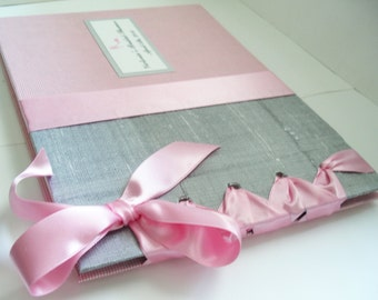 Silver + Pink Bridal Shower Guest Book, Wedding Guestbook, Baby Shower, Christening, (Custom Colors Available)